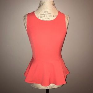 Coral Peplum Tank with Bow on Back Size Medium